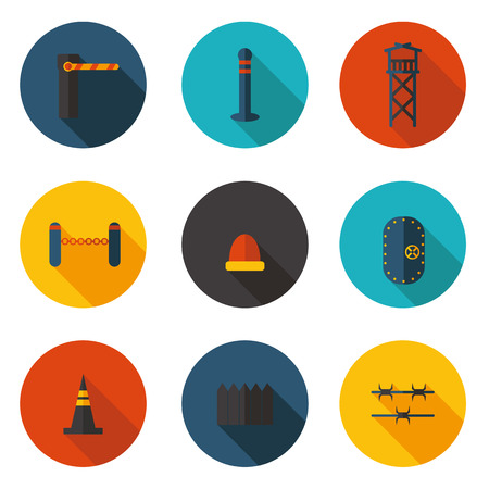 security lights: flat icons methods of protection Illustration