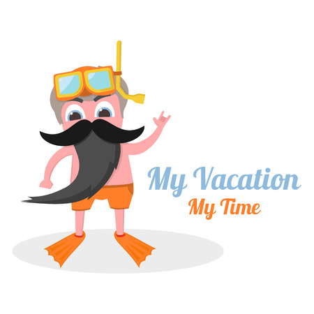 snorkle: my vacation my time in vector format eps10 Illustration