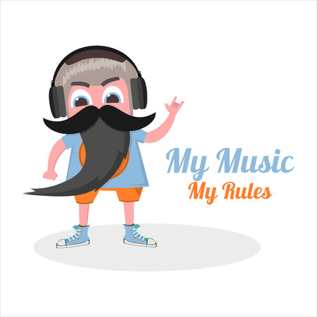 punk hair: flat my music  in vector format eps10 Illustration
