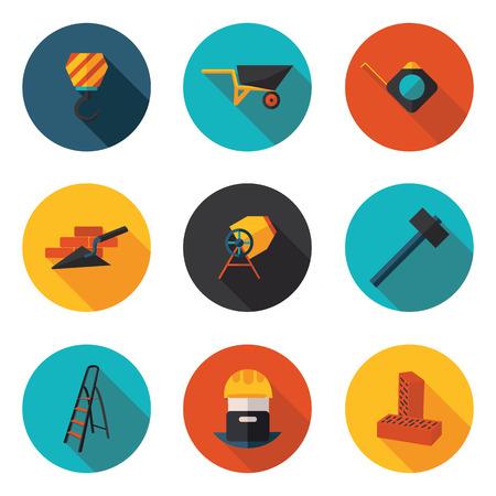 brick and mortar: flat icons construction walls in vector format Illustration