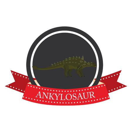 mesozoic: flat icon dinosaur ankylosaur in vector format eps10
