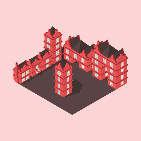 town square: the area of the city isometry in vector format Illustration