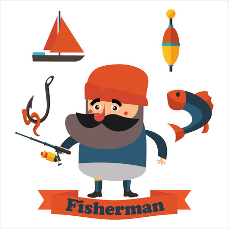 fisher man: best flat grandfather fisherman in vector format