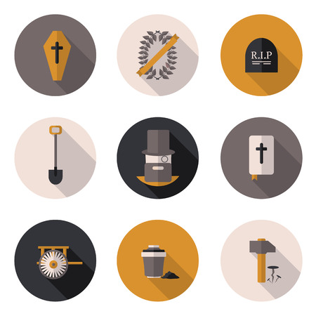obituary: flat icons funeral services in vector format