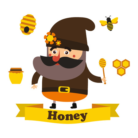 apiary: best flat honey and apiary in vector format eps10