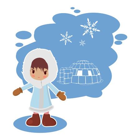 eskimos: best flat Eskimo girl in vector format