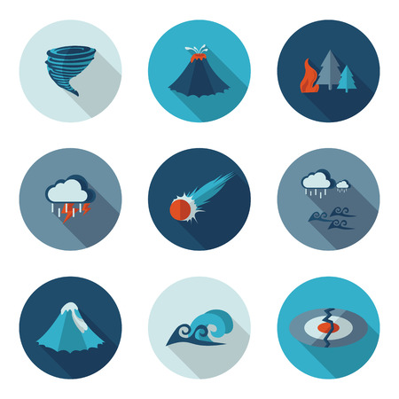 disasters: flat icons natural disasters in vector format eps10