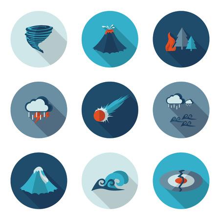 desastres naturales iconos planos en formato vectorial eps10