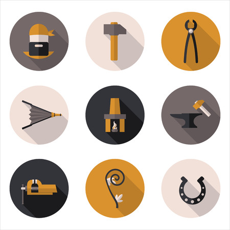 fireplace bellows: best flat icons blacksmith in vector format eps10