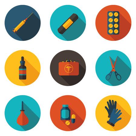 medical gloves: kit first aid in vector format eps10 Illustration