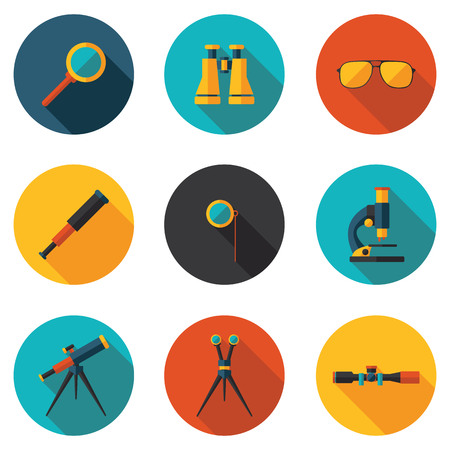 microscope lens: best flat icons optical devices in vector format eps10