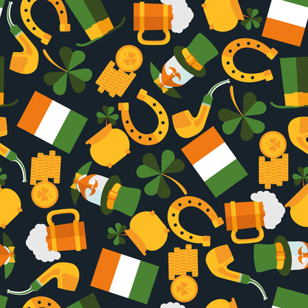 irish beer label: dark seamless pattern of Saint Patrick in vector format eps10 Illustration