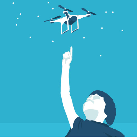 quadrocopter and boy in vector format