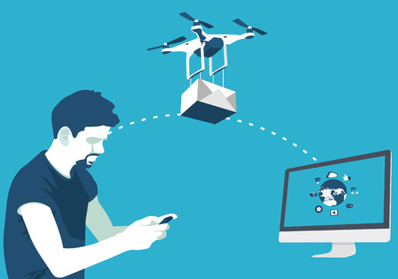 parcels: delivery of parcels by drone in vector format