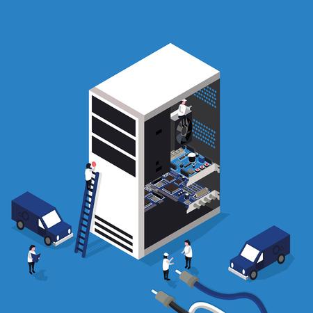 servicio de reparación de la computadora plana isométrica en 3D en formato vectorial eps10