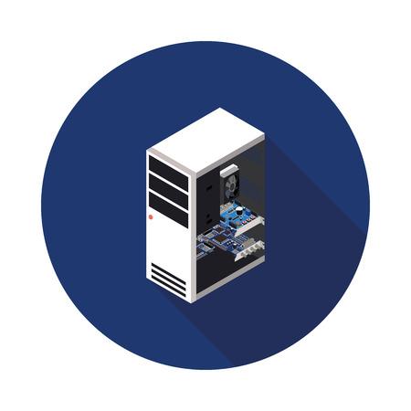 icono computadora: Icono de ordenador plana en formato vectorial eps10