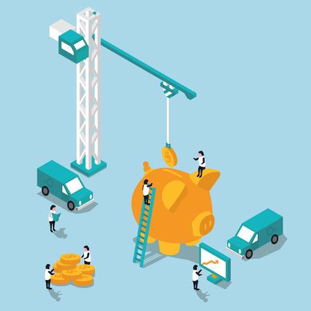 banco dinero: concepto de la acumulaci�n de la ilustraci�n 3D plana