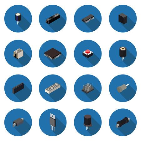 flat icons radio parts Illustration