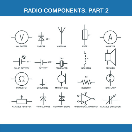 wiring: designation of components in the wiring diagram in vector format eps10