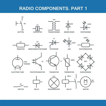 désignation des composants dans le schéma de câblage au format vecteur eps10 Vecteurs
