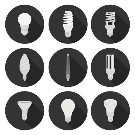 définir icône plat d'ampoule Vecteurs