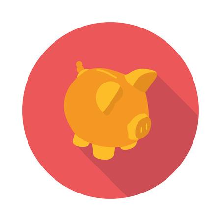 saving bank: flat piggy Bank icon Illustration