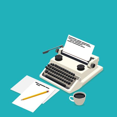 the writer: isometric workplace writer Illustration