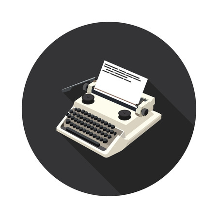 scriptwriter: flat icon typewriter