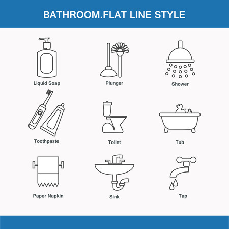 shaver: Bathroom  flat line style in vector format Illustration