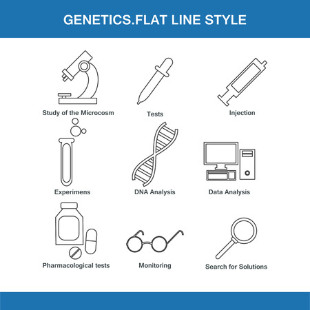 toxicology: genetics  flat line style in vector format