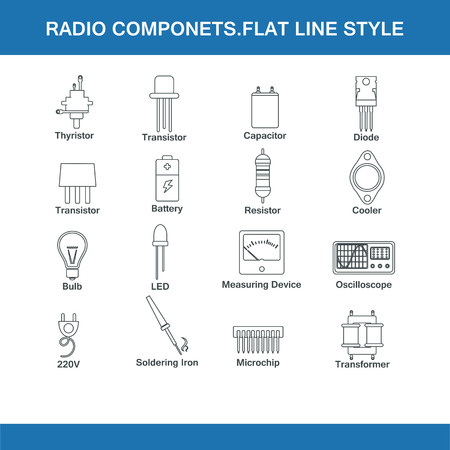 ammeter: radio components flat line style