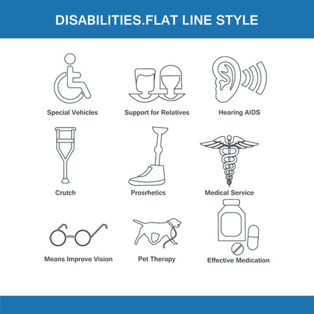 guide dog: disabilities flat line style