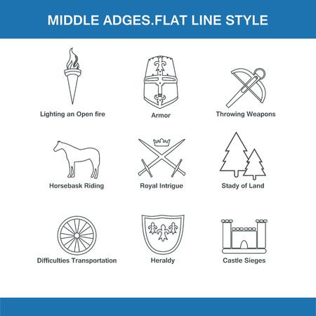 the middle ages: Edad Media de estilo de línea plana