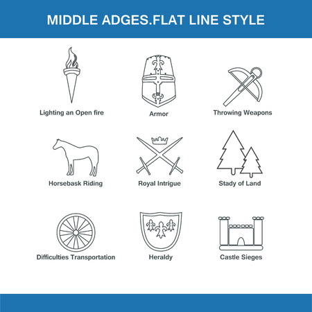 ages: middle ages flat line style
