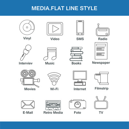 social gathering: media flat line style Illustration