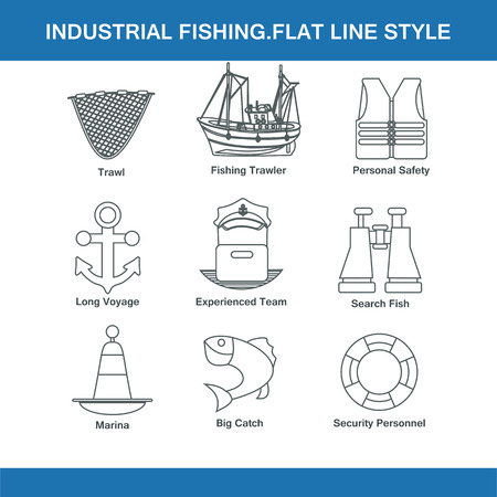 trawl: indastrial fishing flat line style