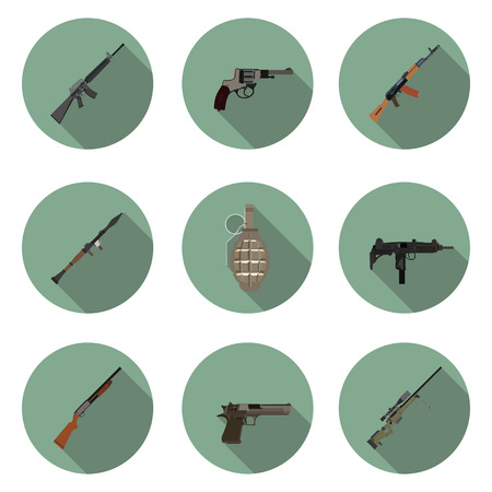 weapons: flat icons set weapons Illustration