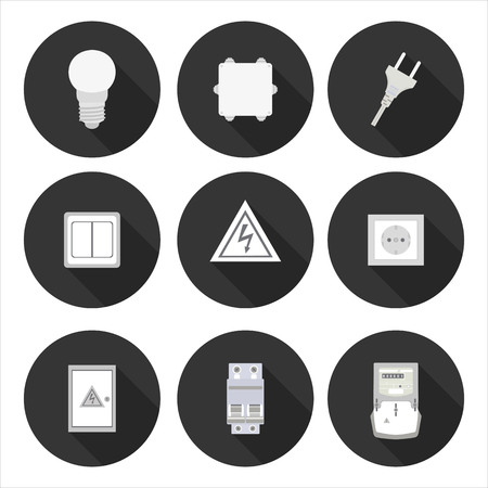electric meter: flat icons electrician