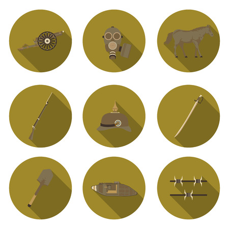 the trench: flat icons the first world war