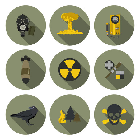 gas mask danger sign: nuclear war flat icons in format