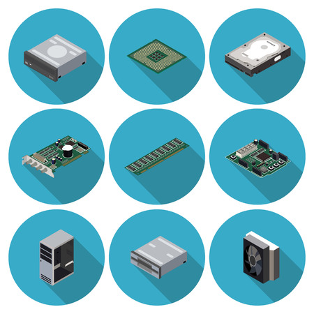flat icons computer components Illustration