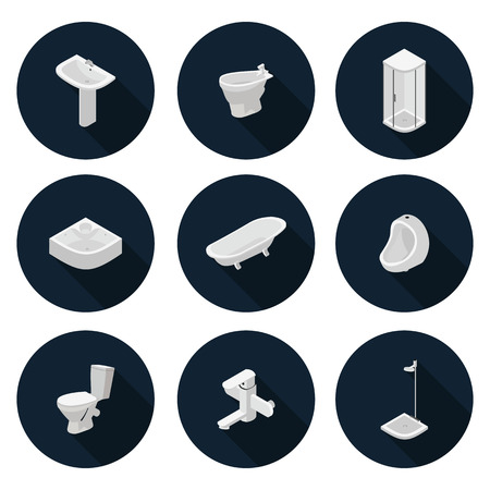 sanitary: 3D flat icons sanitary ware