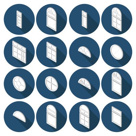 dormer: 3d isometric set of flat icons window Illustration