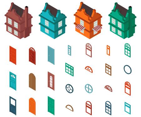do it yourself: isometric set  designer house Illustration
