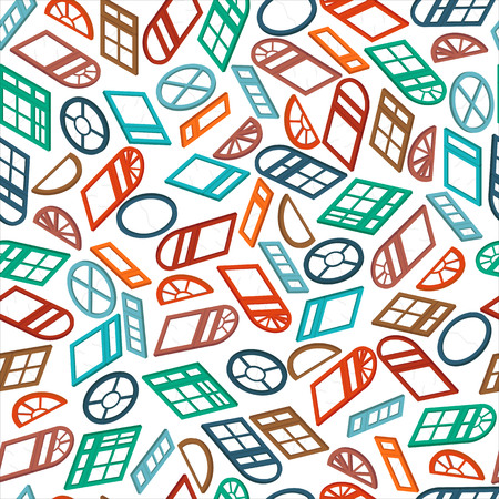 dormer: seamless pattern color isometric window