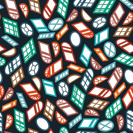 dormer: dark seamless pattern color isometric window Illustration