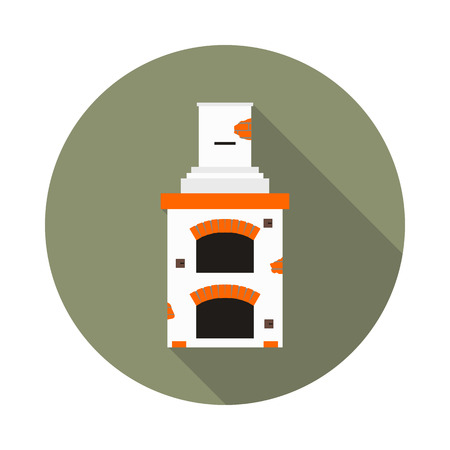 mantelpiece: flat icon fireplace brick oven in vector format eps10