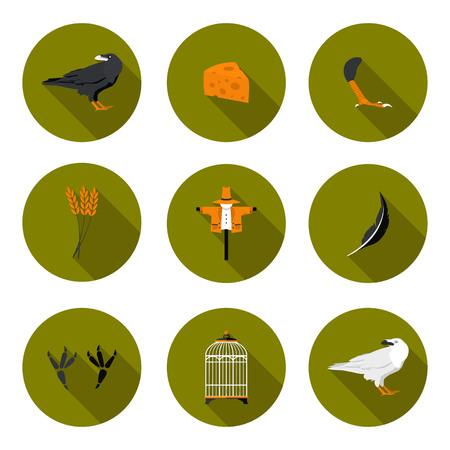 corvus: set of flat icons crow in vector format eps10