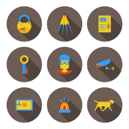 programing: flat icons home security in vector format Illustration