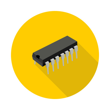 microcircuit: flat icon microchip in vector format Illustration